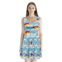 Rainbow pony  Split Back Mini Dress