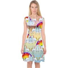 Rainbow pony  Capsleeve Midi Dress