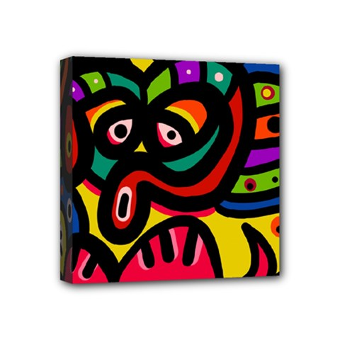 A Seamless Crazy Face Doodle Pattern Mini Canvas 4  X 4