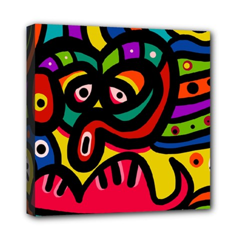 A Seamless Crazy Face Doodle Pattern Mini Canvas 8  x 8