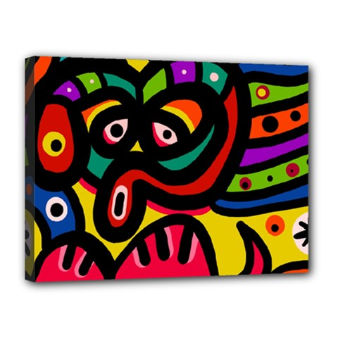 A Seamless Crazy Face Doodle Pattern Canvas 16  X 12