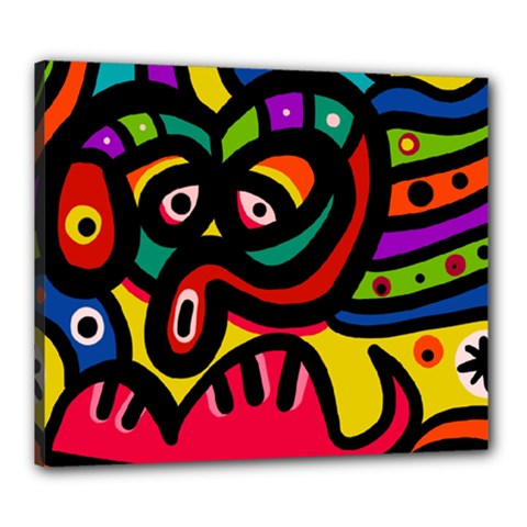 A Seamless Crazy Face Doodle Pattern Canvas 24  X 20
