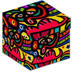 A Seamless Crazy Face Doodle Pattern Storage Stool 12