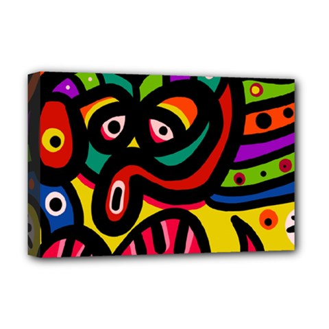 A Seamless Crazy Face Doodle Pattern Deluxe Canvas 18  X 12