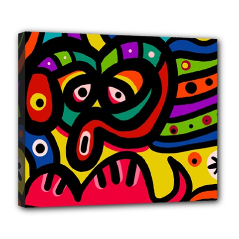 A Seamless Crazy Face Doodle Pattern Deluxe Canvas 24  X 20