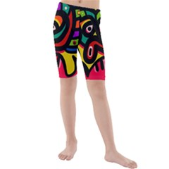 A Seamless Crazy Face Doodle Pattern Kids  Mid Length Swim Shorts