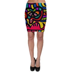 A Seamless Crazy Face Doodle Pattern Bodycon Skirt