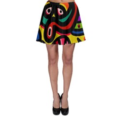 A Seamless Crazy Face Doodle Pattern Skater Skirt