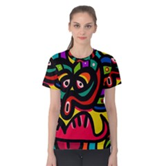 A Seamless Crazy Face Doodle Pattern Women s Cotton Tee