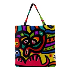 A Seamless Crazy Face Doodle Pattern Grocery Tote Bag