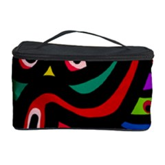 A Seamless Crazy Face Doodle Pattern Cosmetic Storage Case