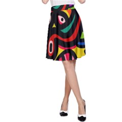 A Seamless Crazy Face Doodle Pattern A Line Skirt