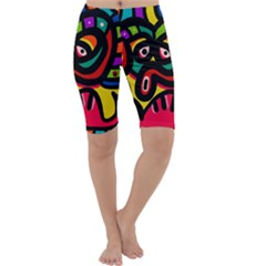 A Seamless Crazy Face Doodle Pattern Cropped Leggings