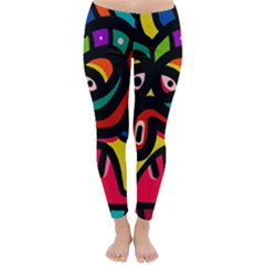 A Seamless Crazy Face Doodle Pattern Classic Winter Leggings