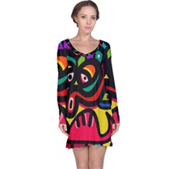 A Seamless Crazy Face Doodle Pattern Long Sleeve Nightdress