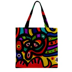 A Seamless Crazy Face Doodle Pattern Zipper Grocery Tote Bag