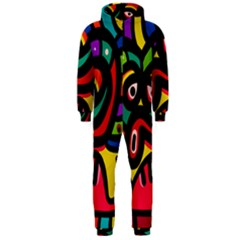 A Seamless Crazy Face Doodle Pattern Hooded Jumpsuit (men)