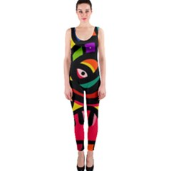A Seamless Crazy Face Doodle Pattern Onepiece Catsuit