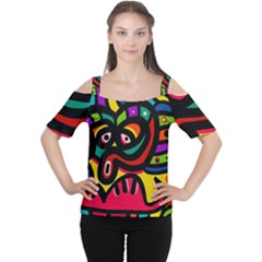 A Seamless Crazy Face Doodle Pattern Women s Cutout Shoulder Tee