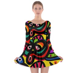 A Seamless Crazy Face Doodle Pattern Long Sleeve Skater Dress