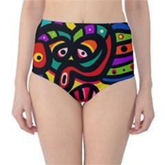 A Seamless Crazy Face Doodle Pattern High Waist Bikini Bottoms
