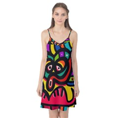 A Seamless Crazy Face Doodle Pattern Camis Nightgown