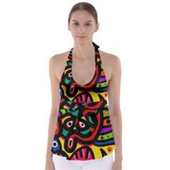 A Seamless Crazy Face Doodle Pattern Babydoll Tankini Top