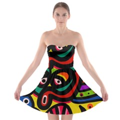 A Seamless Crazy Face Doodle Pattern Strapless Bra Top Dress