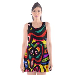 A Seamless Crazy Face Doodle Pattern Scoop Neck Skater Dress