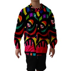 A Seamless Crazy Face Doodle Pattern Hooded Wind Breaker (Kids)