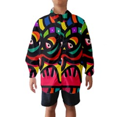 A Seamless Crazy Face Doodle Pattern Wind Breaker (Kids)