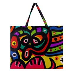 A Seamless Crazy Face Doodle Pattern Zipper Large Tote Bag