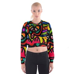 A Seamless Crazy Face Doodle Pattern Women s Cropped Sweatshirt