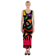A Seamless Crazy Face Doodle Pattern Fitted Maxi Dress