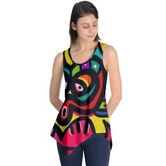 A Seamless Crazy Face Doodle Pattern Sleeveless Tunic