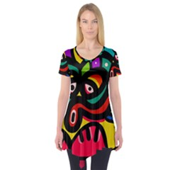 A Seamless Crazy Face Doodle Pattern Short Sleeve Tunic