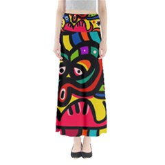 A Seamless Crazy Face Doodle Pattern Maxi Skirts