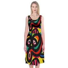 A Seamless Crazy Face Doodle Pattern Midi Sleeveless Dress