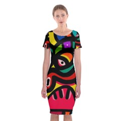 A Seamless Crazy Face Doodle Pattern Classic Short Sleeve Midi Dress