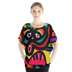A Seamless Crazy Face Doodle Pattern Blouse
