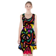 A Seamless Crazy Face Doodle Pattern Racerback Midi Dress