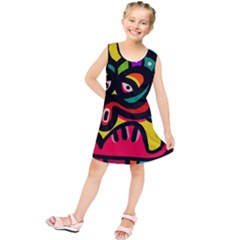 A Seamless Crazy Face Doodle Pattern Kids  Tunic Dress