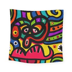 A Seamless Crazy Face Doodle Pattern Square Tapestry (small)