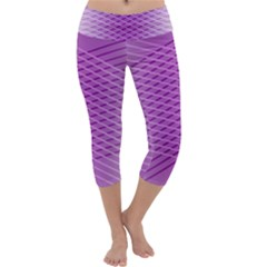 Abstract Lines Background Capri Yoga Leggings