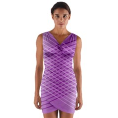 Abstract Lines Background Wrap Front Bodycon Dress