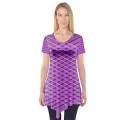 Abstract Lines Background Short Sleeve Tunic