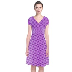 Abstract Lines Background Short Sleeve Front Wrap Dress