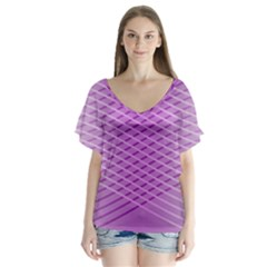 Abstract Lines Background Flutter Sleeve Top