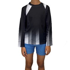 Wall White Black Abstract Kids  Long Sleeve Swimwear