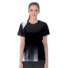 Wall White Black Abstract Women s Sport Mesh Tee